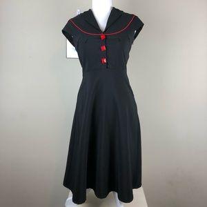 FOLTER MODCLOTH | Black + Red Rockabilly Dress